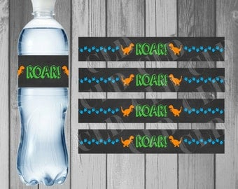 Water Bottle Label Birthday Party Printable Water Bottle Instant Download Dinosaur Birthday Dinosaur Party Printable Dinosaur Roar for