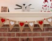 Valentines Day Banner, Valentine Decor, Red Heart, Valentine Garland, Burlap Banner, Photography Prop