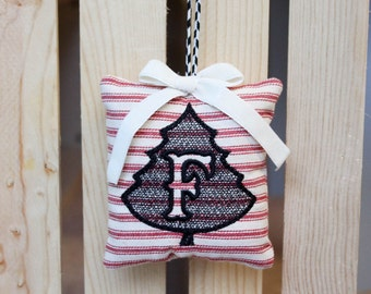 Embroidered Ornament 'F', handmade christmas gifts, hostess gift, holiday decor
