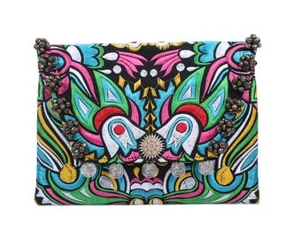 Coins & Bells Clutch With Embroidered Fabric Handmade Thailand (BG306WB.71)