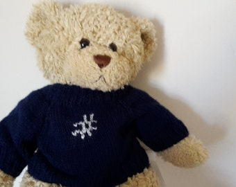 Teddy Bear Sweater - Hand knitted - Navy Blue with Hashtag motif