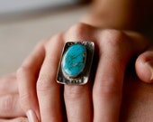 Large Turquoise and Sterling Silver Statement Ring, One of a Kind Artisan Ring