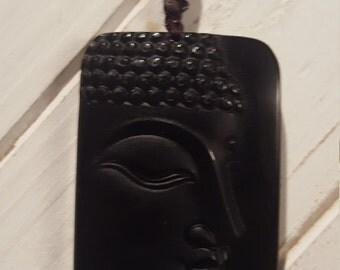 Hand Carved Profile Face Buddha w/ Nylon Rope