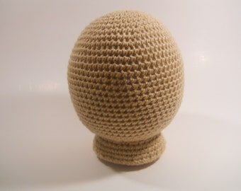 Adult Size Mannequin Head Form, crocheted mannequin head, crocheted mannequin head form, crocheted head form