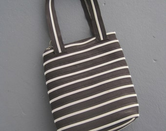 ZIPPER PURSE Black and White Stripes Handbag Shoulder Bag or Top Handle Tote Vintage Hand Crafted Made COMPLETELY Out of Zippers