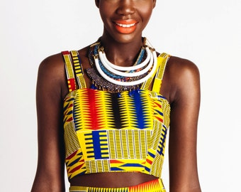 Double Strapped African Print Reversable Bustier Yellow and Primary