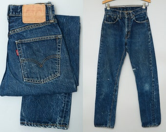 60s Levis 505 Big E Dark Indigo Single Stitch Black Bar Dark Denim Jeans 28 x 30