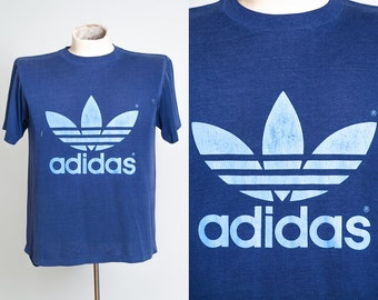 70s ADIDAS Trefoil Logo Two Tone Blue Made in USA Cotton Shirt