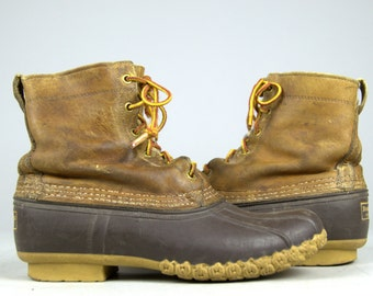 Vintage LL Bean Maine Duck Hunting Leather / Rubber Sport Boots 9.5 Womens