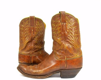 50s M L Leddy Pee Wee Hand Stitched Cowboy Boots Mens 9 Womens 10.5