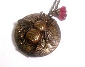 Bee Locket Necklace - Steampunk Jewelry - Brass - Flying Insect - Photo Locket - Gothic - Woodland - Bumblebee - Christmas Gift