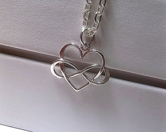 Heart Infinity Necklace - Sterling Silver Charm Necklace - Girlfriend - Birthday - Anniversary - Heart Pendant - Wedding - I Love You