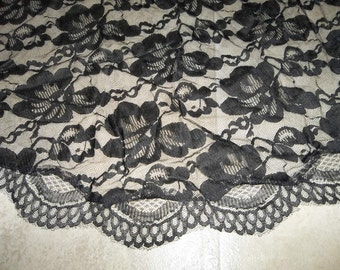 """Antique FRENCH ALANCON Net Lace Shawl....77"""" Long by 31""""Deep.. Perfect Condition..Mantilla"""