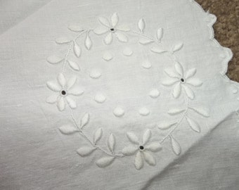 Large Antique Linen And  Doilie...Perfect Condition...Hand Embroidered Padded Whitework...Free Shipping