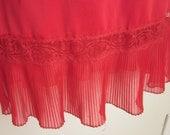 "Vintage half Slip RED 6"" pleated chiffon & lace hem STUNNING - M"
