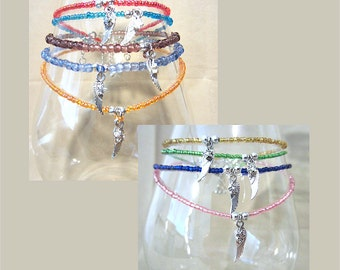 Handcrafted Glass Beaded Anklet w/Silver Mini Star & Angel Wing Charms, Handmade Original Fashion Jewelry, Bright Color Summer Vacation Fun