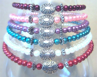 Pearl Anklet w/ Oval Silver Detailed Focal Bead Accents, Native American Inspired, Handmade Original Fashion Jewelry, Colorful Summer Beach