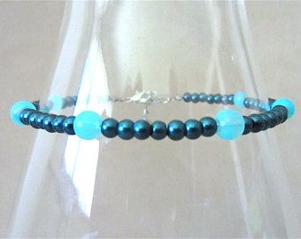 Colored Pearl Ankle Bracelet, Navy Pearl & Turquoise Accent Anklet, Beach Bridal Anklet Blue, Turquoise Blue Handmade Summer Jewelry