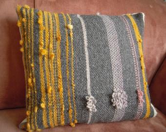 "Hand Woven Cushion  -  Natural Grey & Orange/ Pink Wool Pillow Cover - 16"" x 18"" handspun"
