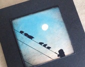 Moon note card, birds on wire with moon gift card, black square photo card, moon print, moon in daytime sky, ready to fly, graduation card