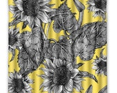 Yellow Sunflower Flower Shower Curtain -  Sunflower - Shower Curtain - Vintage Flower Print - Flower Home Decor - Sunflower bath Home Decor