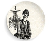 Steampunk Aviator Lady, Melamine Plate, Lady, Steampunk, Aviator, decorative plate, steampunk dinner plate, gift