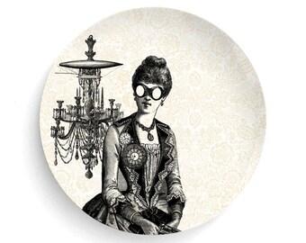 Steampunk Aviator Lady, Melamine Plate, Lady, Steampunk, Aviator, decorative plate, steampunk dinner plate, gift
