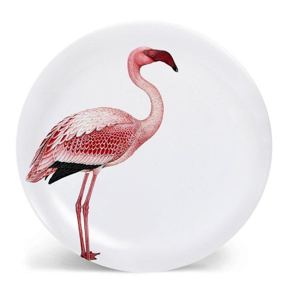 Pink Flamingo Bird Melamine Plate Flamingo Plate Tropical