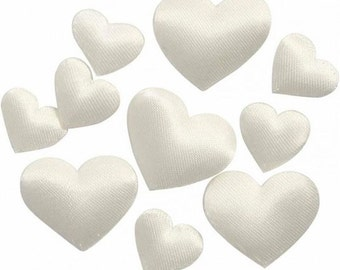 Small Ivory Satin Hearts - Padded Decoration - 2 Sizes - 70 Pieces - Craft Card Gift