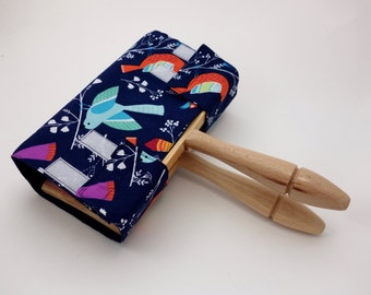Hand Carder Cover. Fabric Case for your Hand Carders. Bird Print