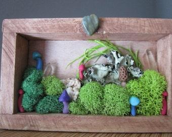Rustic Spring/Summer Themed Woodland Mushroom & Moss Scene Polymer Clay Shadowbox Sculpture