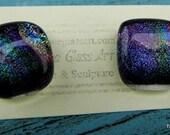 Fused Glass & Silver Earrings.  Dichroic Earrings  SRAJD FHFteam