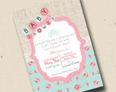 Printable Shabby Chic Baby Shower Invitation, Pink Baby Girl Shower, Vintage Floral Baby Shower