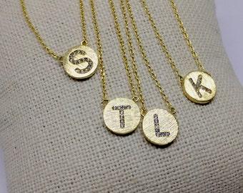 Gold Pavé Initial Necklace, 18k Gold, Dainty Necklace, Tiny Initial Necklace
