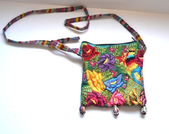 90s  Floral Fabric Tote Cloth Tote Handbag Purse  shoulder bag embroidered mini bag Hobo Style beach vacation travel cosmetic cell phone bag