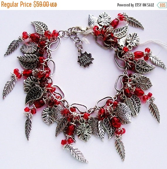 10%OFF Red Chunky Charm Bracelet Cha Cha Bracelets SILVER Leaves, Red Glass & Seed Beads Handmade One of a Kind ( OOAK )