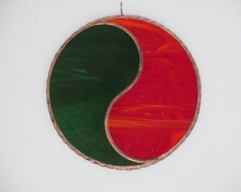 Stained Glass Holiday Themed Yin and Yang Suncatcher