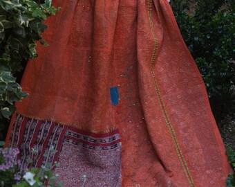 Orange kantha Kantha ,Sari throw, Sari Blanket, Kantha Blanket,  Kantha Throw, Indian Quilt, Coverlet, Ralli Quilt,Kantha