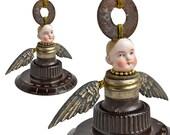 vintage radio dial, Angel art doll ornament, guardian angel, mixed media assemblage, altered doll, original art by Elizabeth Rosen