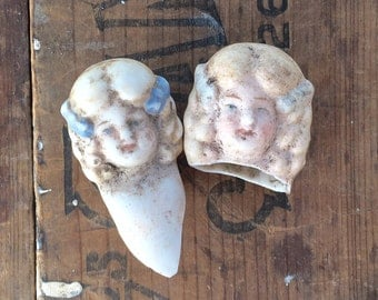 2 vintage doll heads, doll parts, antique doll, assemblage supply, broken doll, frozen charlotte, sisters