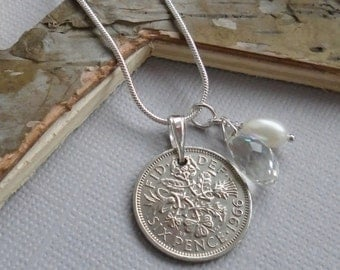 1966 Lucky Sixpence Necklace, Sterling Silver, Gift for a Women, Sixpence Jewelry, Birthyear Necklace, British Coin, Mother, Sister, Aunt