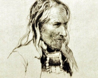 Portrait of a Breton Peasant - Vintage Etching by A. Hugh Fisher