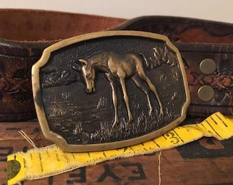 Vintage Belt Buckle / Horse Belt Buckle / Vintage Horse / Belt Buckle / Horse