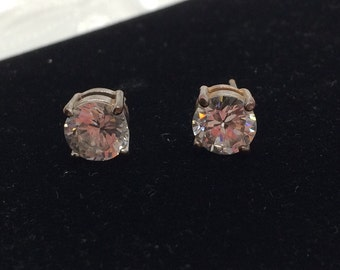 Large CZ Stud Earrings, Vintage Silver Plated, Clear Stone, HALF OFF Sale, Item No. S372