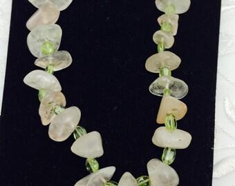 Vintage Rose Quartz Necklace, Silver Tone Clasp, Green Glass,Chunky, HALF OFF Sale, Item, No. B303