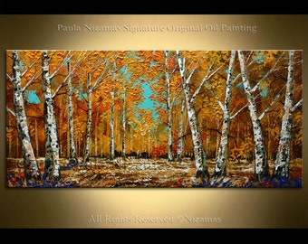 Painting on canvas Original Birch Forest in Fall Palette Knife Landscape Nizamas ready to hang