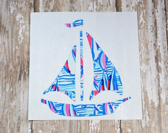 Red Right Return Lilly Pulitzer Inspired Sail Boat Decal ~ Yeti Decal ~ Lilly Car Decal ~ Lilly Monogram Decal ~ Lilly Sticker