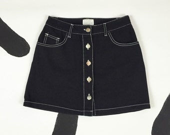 90s Black Denim Button Front Mini Skirt / White Contrast Stitching / Moda Intl / Size 2 / Grunge / Cyber Goth / Clueless / 90210 /