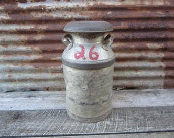 Vintage Milk Can Silver Gray #26 Signed Follensbee Distressed Vintage Dairy Antique Rustic vtg Industrial Decor Tractor Stool Seat Old