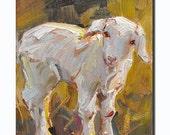 Western Sheep portrait Original oil Painting on canvas panel Farm animals